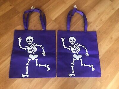 Glow In The Dark Items Wholesale (2 New Large Purple Reusable Skeleton Tote Trick-Or-Treat Shopping)