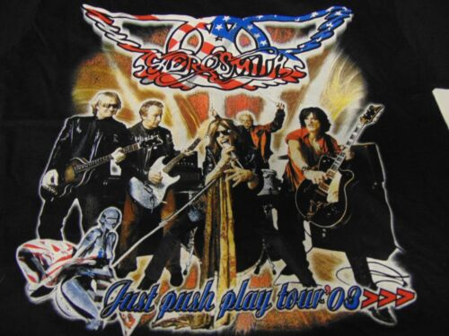 Rock Shirt Vintage Authentic Rare AEROSMITH Just Push Play Tour 2003 w KISS! XL