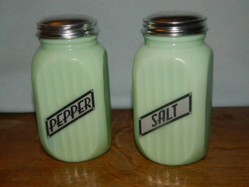 LARGE Jade Depression Style Black Letter Glass Salt and Pepper Shakers RANGETOP