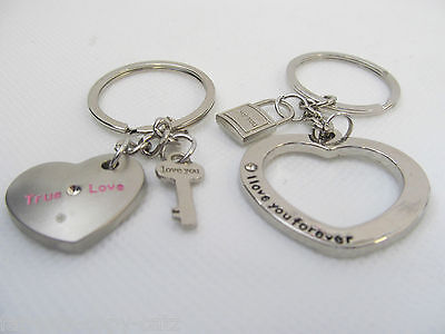 LOVERS COUPLES VALENTINE GIFT IDEA ENTWINED HEART LOCK & KEY KEYRING UK SELLER (Couple Costumes Idea)