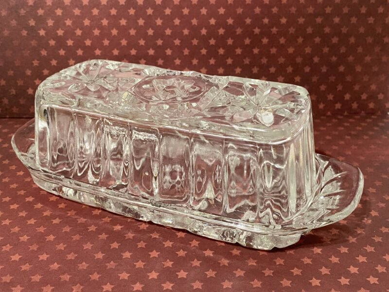 "Anchor Hocking Early America Prescut Glass EAPC Butter Dish & Lid Size 7""x3""x2"""