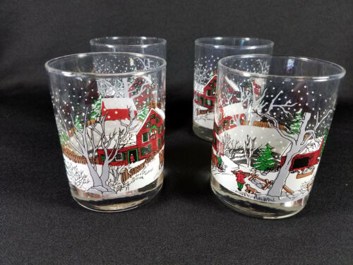 4 Libbey Winter Village Christmas Village Tumblers Beverage Glasses, sleigh