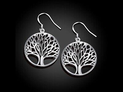 925 Sterling Silver Tree Of Life Art Dangle Drop Hook Earrings Sterling Dangling Earring