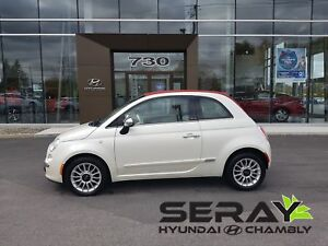 2012 Fiat 500C Lounge, toit rouge, a/c, cuir, bluetooth