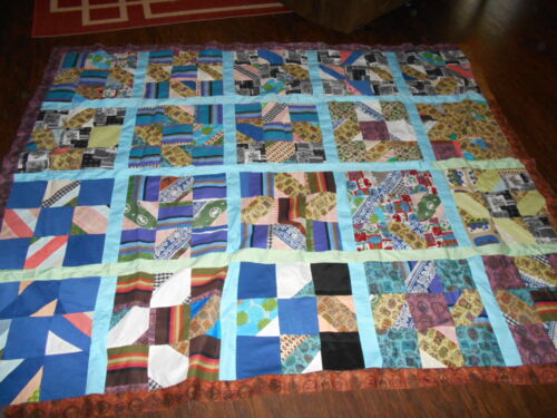 "Vintage Quilt Top Hand Stitched Unfinished Queen Size 76"" x 93"""
