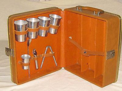 Ever Wear Trav-L-Bar Travel Bar Brown Leather Case Vintage