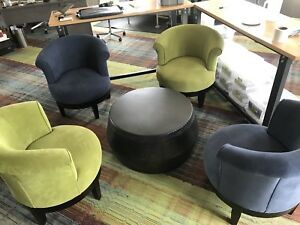 Set of four comfy swivel chairs and drum table