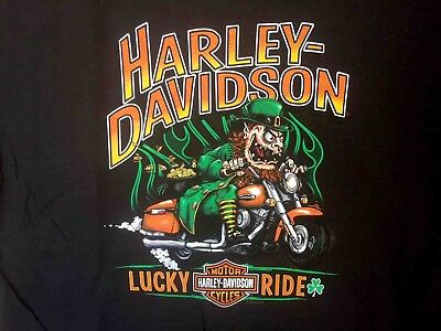 Harley Davidson Scary Leprechaun Black Shirt Nwt Men's XXL](Leprechaun Scary)