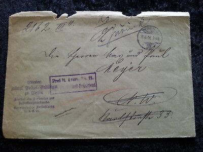 Altdeutschland Preußen -  Brief  Faltbrief  Vorphilatelie  Berlin 19.06.1906