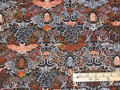 Bats Skulls & Webs Damask Halloween Fabric by Timeless Treasures  1/2 Yard #4577