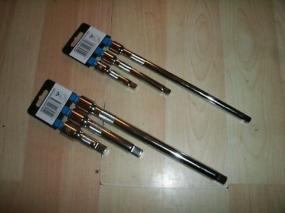 "TWO THREE PIECE EXTENSION BAR SETS 3/8"" AND 1/2""DRIVE CHROME VANADIUM SPRING LOA"