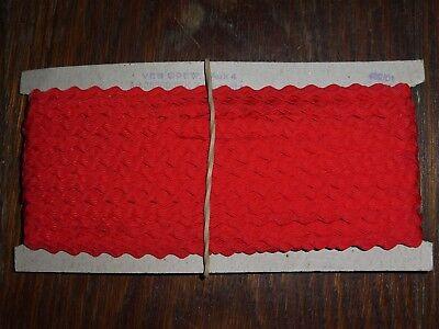 (0,40€/m) rote Zackenlitze/Litze, Höhe ca. 0,5/0,8cm 50m pro Pappe DDR OPEW