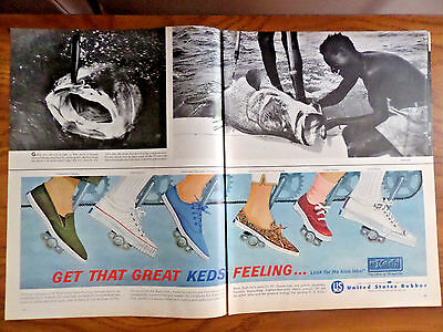 1962 U. S. Keds Shoes Ad  Get that Great Keds Feeling Look for the Blue Label