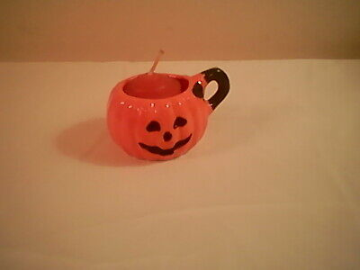 """GHC small glazed ceramic pumpkin candle holder with handle, 1.5 """" x 8 """" round"""