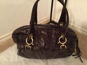 GOLDENBLEU Jordan Purple Patent Leather Large Shoulder Bag Handbag