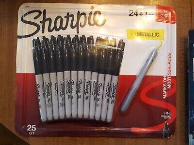 New - Fine Tip Permanent Black Markers 241 Metallic Silver Bysharpie
