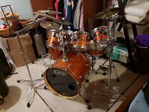 PDP X7 drum set with 6 cymbals and travel cases