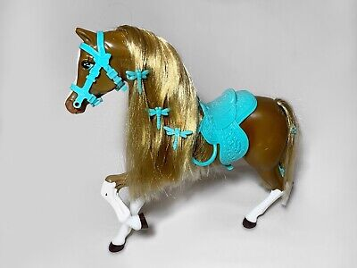 Mattel Barbie Meadow Mares Dragonfly Horse w Hair Clip accessories Brown Golden