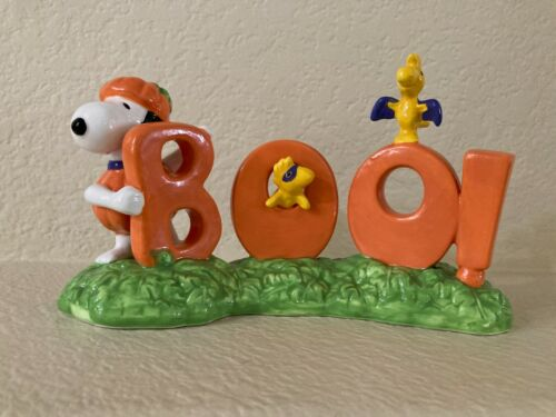 "New w/o Tags Snoopy with Woodstock/Friend ""BOO"" Ceramic Figurine"