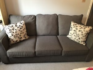 Grey pinstriped pull out couch - 10/10 condition
