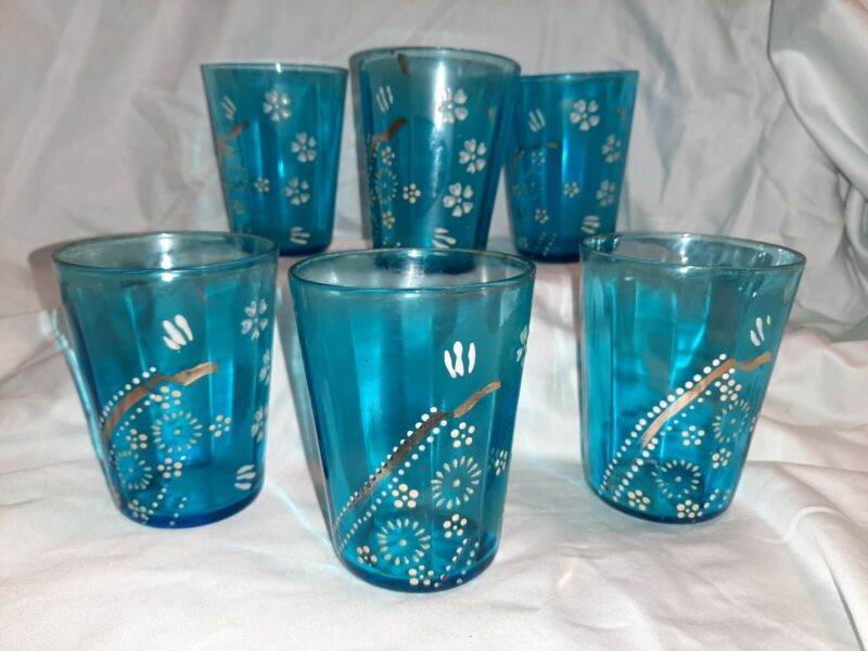 6 PC ANTIQUE VICTORIAN DRINKING GLASSES AQUA BLUE HAND PAINTED FLOWERS w/GOLD