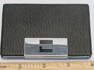 Black Pu Leather Pocket Metal Business Credit Card Holder- American Express Logo