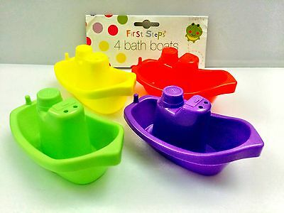 First Step 4x Plastic Floating Kids Childrens Baby Bath Tub Time Boats toys