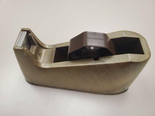 "Vtg Brown Plastic Heavy Duty Weighted Masking Tape Dispenser 1"" Width"
