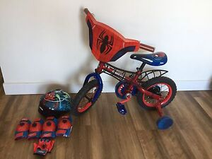 """SPIDER-MAN BIKE 12"""" with helmet and pads"""