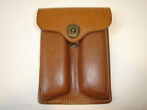 1911 DUAL MAGAZINE AMMO POUCH FOR 20 ROUND STICK MAGS BROWN LEATHER AMMO POUCH
