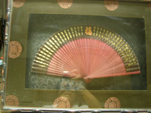 Antique Chinese Hand Fan Box-Framed Red/Brown Wood and Black Silk
