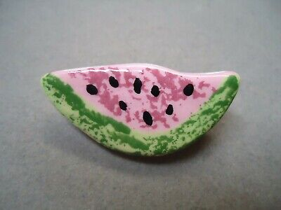 Vintage Hand Made Enamel Porcelain Slice of Water Melon Summer Theme Brooch Pin - Water Melon Costume