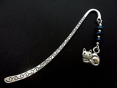 A TIBETAN SILVER  CAT CHARM & BLUE CRYSTAL BEADS BOOKMARK. NEW.
