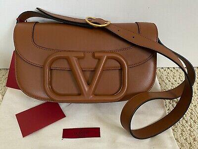 NWT Valentino Supervee Brown Leather Maxi V Logo Front Flap Shoulder Bag $2875