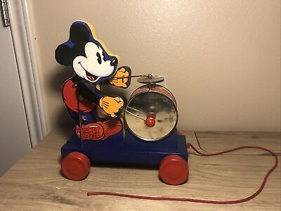"""DISNEY 1937 """"MICKEY MOUSE DRUMMER"""" PULL TOY #795 BY FISHER-PRICE-COMPLETE-WORKS!"""