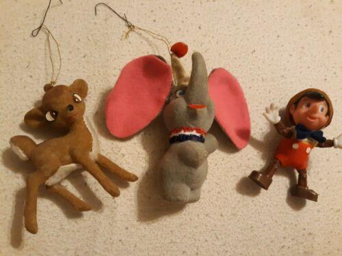 VINTAGE Disney Productions PINOCCHIO DUMBO BAMBI Plastic Christmas Ornament