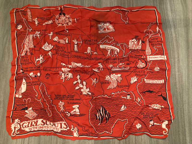 Vintage 1936 Girl Scouts Scarf, map scarf, red silk, retro art graphics