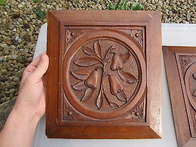 Vintage Wooden Panel Plaque Carved Wood Antique Flower Leaf Fruit Pears Old