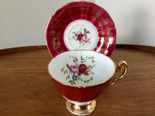 Adderley CUP & SAUCER Red & Gold Fine Bone China England ROSES