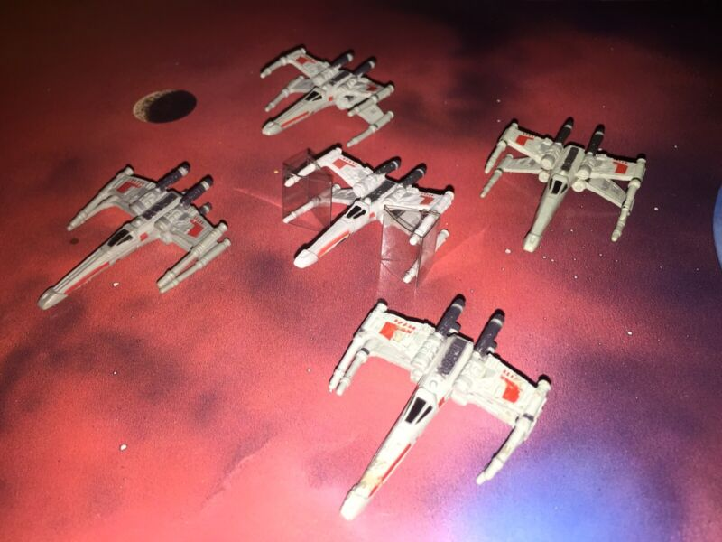 90's Micro Machines Star Wars Lot X5 X-Wing Space Ship Starfighter Squadron