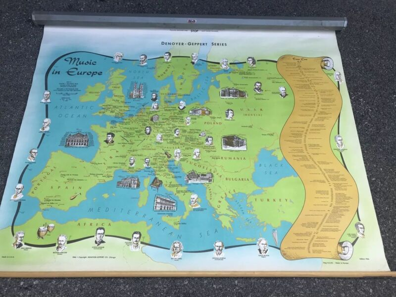 "Vintage 1966 Denoyer Geppert ""Music In Europe"" School Room Map"