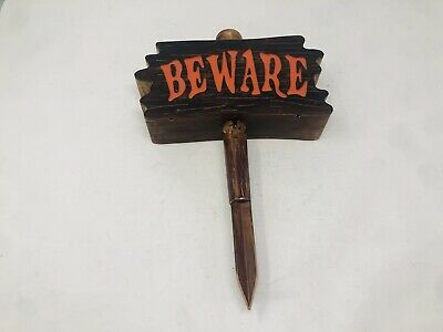 Gemmy Halloween Decor Motion Activated Beware Sign - Light Up, Screaming, Sounds