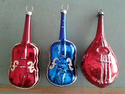 ANTIQUE VINTAGE GLASS CHRISTMAS ORNAMENTS MUSICAL STRING INSTRUMENTS MANDOLIN  - Musical Christmas Ornaments