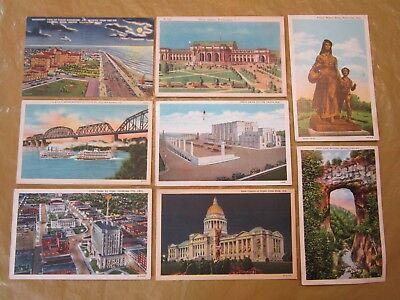 8 POSTCARDS 1935-1948 COLOR WASHINGTON D.C. TEXAS ARKANSAS INDIANA KENTUCKY