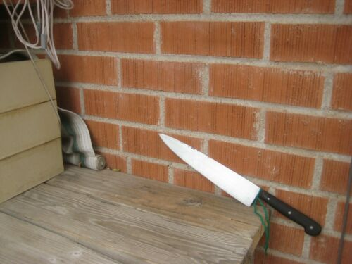 """1930s Vintage 10"""" Blade UNMARKED ED. WUSTHOF *** Thin Carbon Chef Knife GERMANY"""