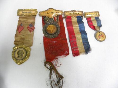"""4"" Antique Vtg P.O. of A Patriotic Order Americans Fraternal Pin Ribbon (A20)"
