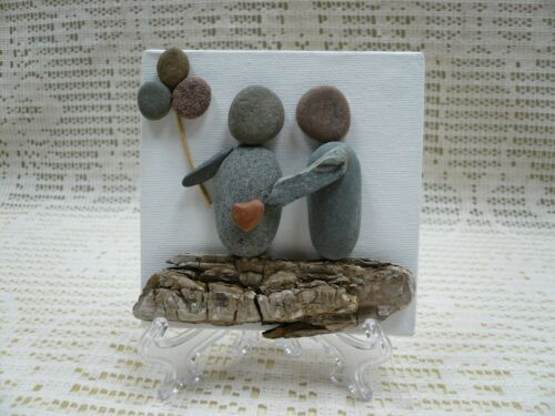 """Pebble Art Handmade Picture Pregnancy Baby Announcement Maternity 4x4"""" w/Stand"""