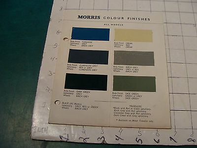 vintage Original auto dealership 1956 MORRIS Colour Finishes