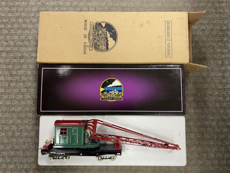 + MTH Ives Standard Gauge Tinplate 199 Derrick Car Crane Red & Green 10-2018