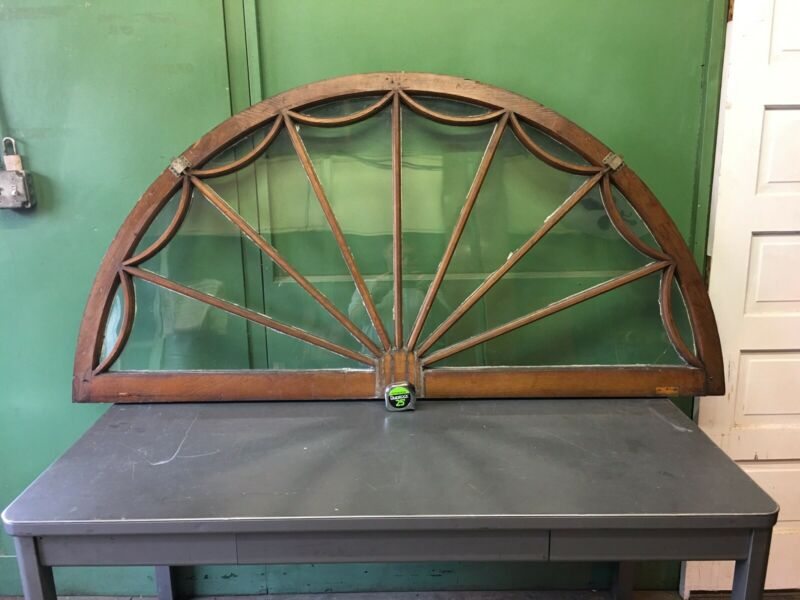 "70"" Spider Web Window Large Vintage Architectural Salvage Half Round Wood Frame"
